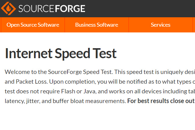 SourceForge Speed Test